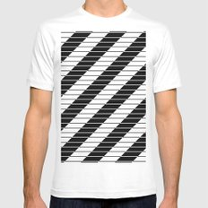 Simply Black And White (Abstract, geometric design) Mens Fitted Tee White MEDIUM