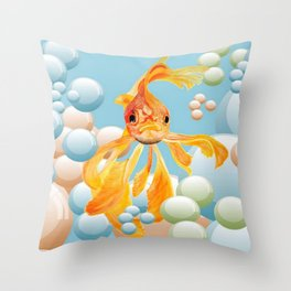 Vermillion Goldfish Blowing Bubbles Throw Pillow