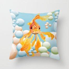 Vermillion Goldfish Blowing Bubbles Throw Pillow