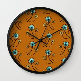 Mid Century Modern Dandelions on orange Wall Clock