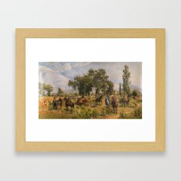 ATTRIBUTED TO FRANZ ALEKSEYEVICH ROUBAUD (RUSSIAN 1856-1928) Halt Along the Way, 1885 Framed Art Print