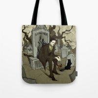 edgar allan poe Tote Bags featuring Edgar Allan Poe by Abigail Larson
