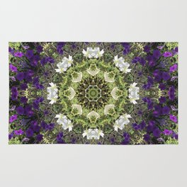Icy White and Rich Violet Petunias Kaleidoscope Rug
