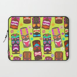 Retro Tiki Mask Luau in Lime Green Laptop Sleeve