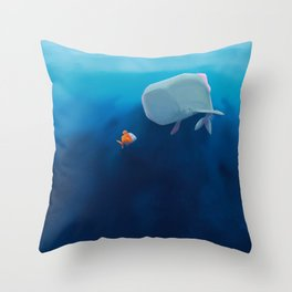 The little sperm whale and the fish Throw Pillow