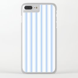 Mattress Ticking Wide Striped Pattern in Pale Blue and White Clear iPhone Case