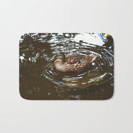 Mallard Duck Swimming in a pond Bath Mat