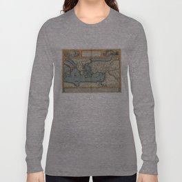 Vintage Map of The Mediterranean (1584) Long Sleeve T-shirt