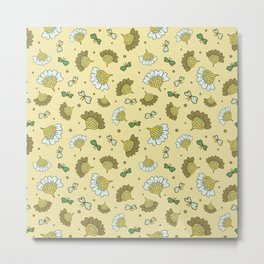 Whimsical Flowers and Butterflies on yellow background Metal Print