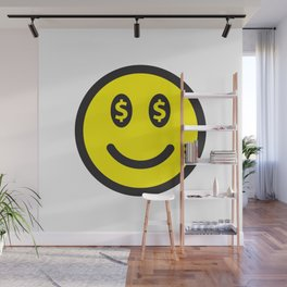 Smiley Face Dollar Signs Wall Mural