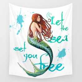 Mermaid: Let the sea set you free Wall Tapestry