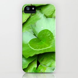 Water Lily Green Leaves and Heart Shaped Water Photography iPhone Case