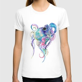 Tuquoise BLue Pink Purple Octopus T-Shirt