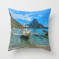 philippines Throw Pillows featuring Palawan Beach Philippines by Clive Eariss