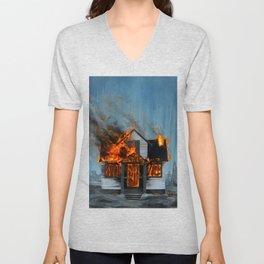 House on Fire Unisex V-Neck