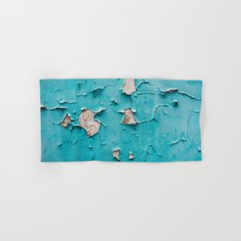 Old vintage blue cracked peeling off wall texture - abstract background illustration Hand & Bath Towel
