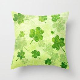 Green Shamrocks Throw Pillow