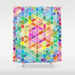 Rainbow Honeycomb with Stars Shower Curtain