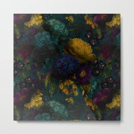 Before Midnight Blue Hour Vintage Flowers Garden Metal Print