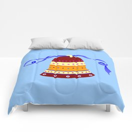Bell and blue ribbon Comforters