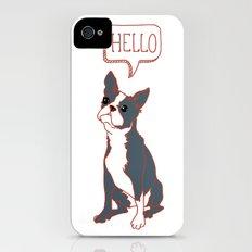 Boston Terrier, Hello, Red, Black, Grey Slim Case iPhone (4, 4s)