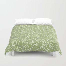 Doodle Line Art | White Lines on Spring Green Duvet Cover