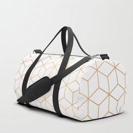 Gold Geometric Pattern on White Background Duffle Bag