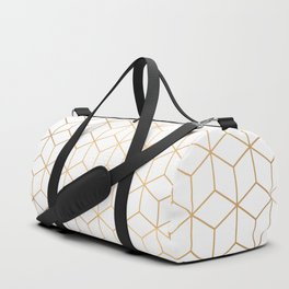 Gold Geometric Pattern on White Background Duffle Bag