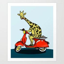 Giraffe riding a moped Art Print