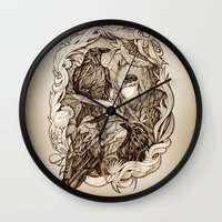 crow Wall Clocks featuring Crow by Alice Macarova