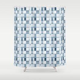 Blue-Cuadricula Shower Curtain