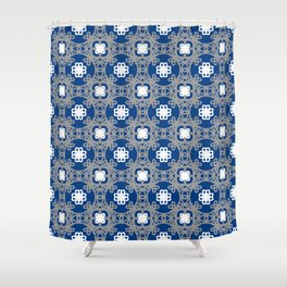 Blue white and grey square floral Shower Curtain