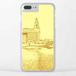 Liver Building from Princes Dock (Digital Art) Clear iPhone Case