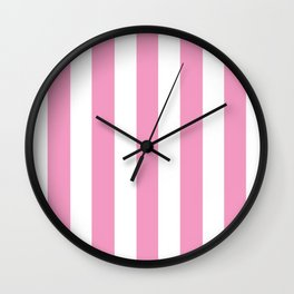 Pastel magenta pink - solid color - white vertical lines pattern Wall Clock
