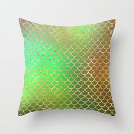 Luxurious Greens and Gold Mermaid Scale Pattern Throw Pillow