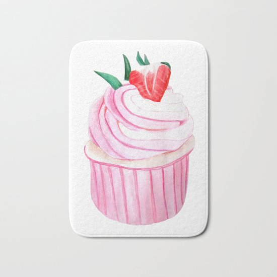 Strawberry Cupcake Bath Mat