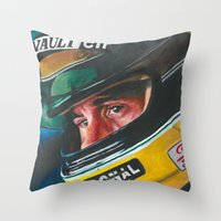senna Throw Pillows featuring Ayrton Senna by Sprite Ideas