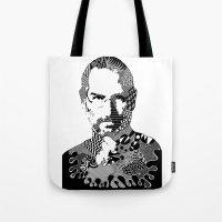 steve jobs Tote Bags featuring Steve Jobs Doodle by Rebecca Bear