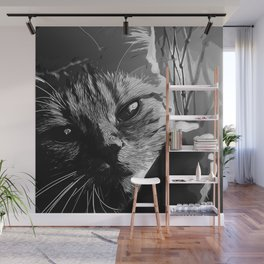 set your cat free vector art black white Wall Mural
