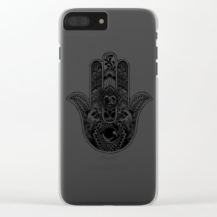 Hamsa Hand Pug Clear iPhone Case
