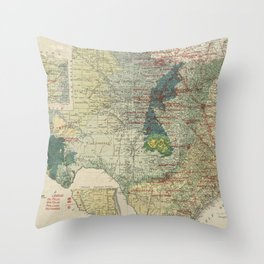 Vintage Map of The Texas Oil and Gas Fields (1920) Throw Pillow