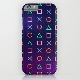 Cyberpunk Vaporwave Playstation Icons iPhone Case