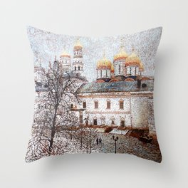 The Cathedral of the Dormition and Ivan the Great Bell Tower in the Moscow Kremlin Throw Pillow