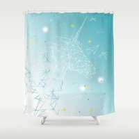 unicorn Shower Curtains featuring UNICORN by ARCHIGRAF