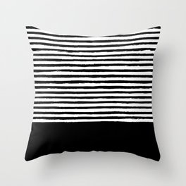 geometric art pattern with medium lines, black and white background Throw Pillow