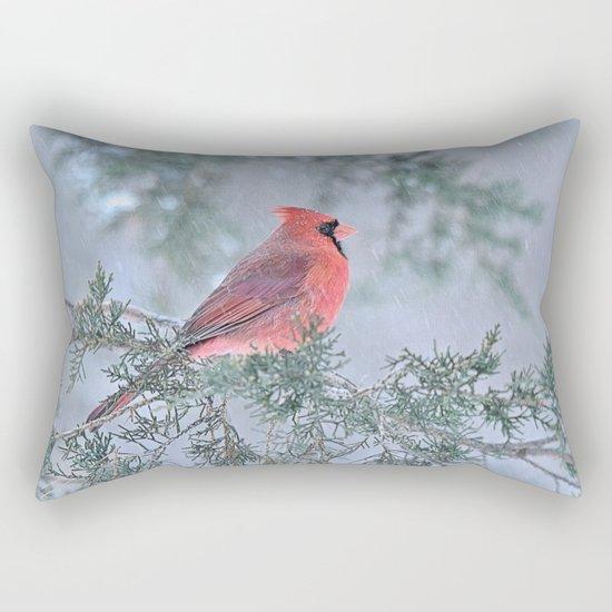 Sleet Cardinal Rectangular Pillow