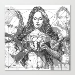 SOLVE ET COAGULA. New Composition. Ladies. Damascus. Triptych. Part 2. Illustration. INK ART. Yury F Canvas Print