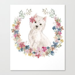 Lovely Westie In A Ring Of Flowers Canvas Print