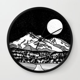 Mount Shasta Black and White Wall Clock