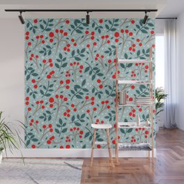 Festive Red Berries Wall Mural